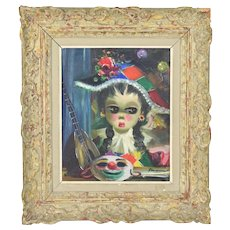 1950's Big-Eyed Girl Dressed as Harlequin Oil Painting signed
