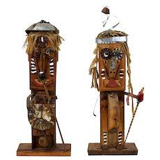 1977 Found Object Totem Figure Sculptures signed Peg Miller Spring Green artist