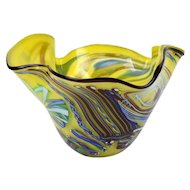 Rollin Karg Studio Hand Blown Art Glass Bowl Vase 2002 Kansas Artist