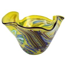 Rollin Karg Studio Hand Blown Art Glass Bowl Vase 2002 Kansas Artist
