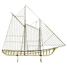 Curtis Jere Mid-century Modern Abstract Sailing Ship Yacht Schooner Metal Sculpture