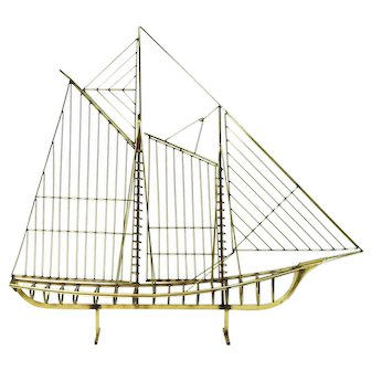 Curtis Jere Mid-century Modern Abstract Sailing Ship Yacht Schooner Metal Sculpture