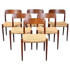 Set of 6 Niels Moller 75 Vintage Mid-Century Danish Modern Teak Dining Chairs