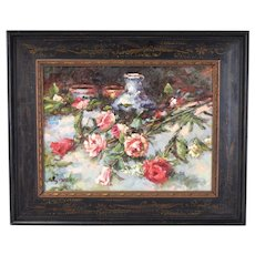 Impressionist Oil Painting Still Life Blue White Vase w Flowers signed Sully Misso