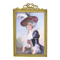19th Century Continental Hand Painted Porcelain Plaque Elisabeth of France by Brun