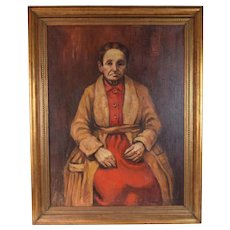 """Oil Painting """"My Grandmother"""" Exhibited 1943 Nathan Roman Chicago artist"""