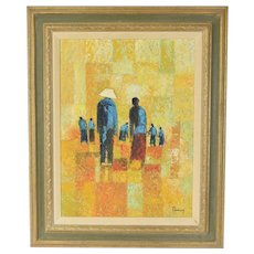 Vintage Mid-Century Modern Abstract Oil Painting Thai Farmers in Field Tawon Inargon