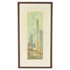 Vintage Mid-Century Modern Cityscape Oil Painting Edward Cathony Chicago