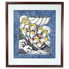 Sadao Watanabe signed L/E Momigami Print Boat in Storm Christ on Lake of Galilee