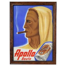 "Johannes Handschin ""Apollo Bouts"" Cigar Advertising Poster Basel Graphic Art"