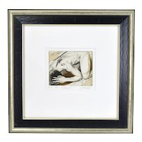 """Adam II"" Nude Male Sergei Firer Signed Original L/E Etching Hand Colored"