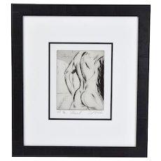 """Adam III"" Nude Male Torso Posterior Sergei Firer Signed Original L/E Etching"