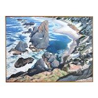 Large 1970's Oil Painting Oregon Coast: Dunes National Park by Vanderslice