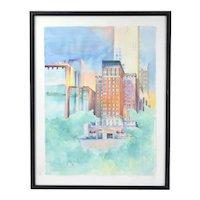Vintage 1989 Architectural Cityscape Lakefront Buildings Watercolor Painting