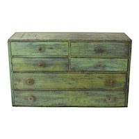 Rustic Green Plywood Industrial Parts Storage Cabinet w Lucite Washer Pulls