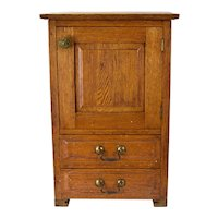 Antique Diminutive Golden Oak Wall Cabinet or Side Table