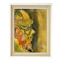 Vintage Mid-Century Modern Abstract Painting Profile Woman signed Peg