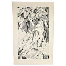 "Large Mid-Century Modern Cubist Nude Engraving ""Fortuna""  Bernhard Epple"