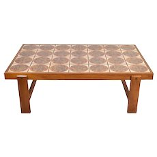 Large Danish Modern Tile Top Teak Coffee Cocktail Table