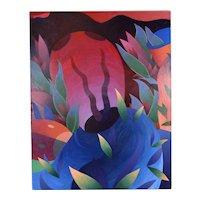 "Steven Heyman 1982 ""Bug Head Read"" Painting Chicago Artist"