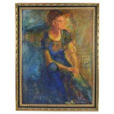 Sylvia Davis Mid-Century Modern Painting Ethereal Portrait Woman Rochester Artist