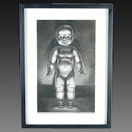 """Baby Doll"" Charcoal Drawing by Kansas Artist Constance Ehrlich"