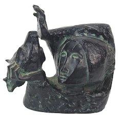 "Modernist Alvar Sunol ""La Paloma"" The Dove Verdigris Resin Sculpture"