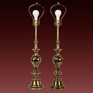 Pair Stiffel Mid-Century Modern Brass Baluster Table Lamps