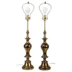 Pair Stiffel Mid-Century Modern Brass Baluster Table Lamps