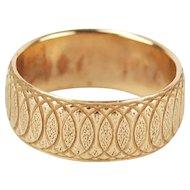 Vintage 14k Solid Yellow Gold Wedding Band Interlocking Ovals Pattern