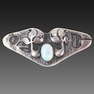 Arts & Crafts Era Sterling Silver Brooch Stylized Flowers with Opal Cabochon