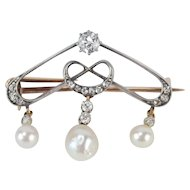 Antique Art Nouveau Silver Topped Gold Diamond Brooch w Pearls