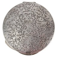 Large Italian Finely Engraved .800 Silver Mirrored Compact Art Nouveau
