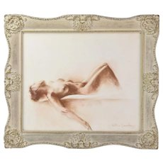 Reclining Nude Original Sepia Tone Charcoal Drawing Antimo Beneduce Chicago