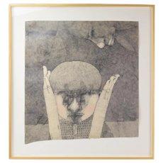 "Original Drawing ""Juarez Walls"" Abstract Head in Hands signed Kurt Kemp"