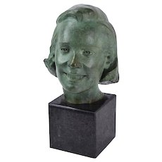 Circa 1960's Bronze Bust of Smiling Young Woman signed Carl Tolpo Illinois