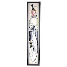 Mid-Century Modern Handpainted Ceramic Tile Clown Riding Velocipede Bike