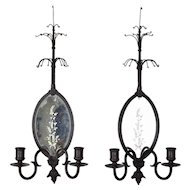 Pair Vintage 1920's Bronze Candle Sconces with Etched Mirror Backs