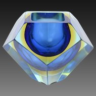 1970's Blue Murano Faceted Sommerso Art Glass Bowl Dish Red Dot Optical Illusion