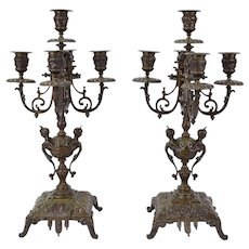 Pair French Empire Style Bronze 5-Light Candelabra with Winged Female Busts