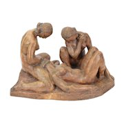Circa 1930's Terra Cotta Figural Group Tranquil Nude Women at Leisure signed
