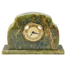 Vintage Art Deco Figured Green Marble Desk Mantle Clock Quartz Movement