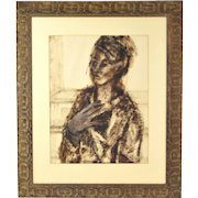 Vintage Mid-Century Modern Painting Abstracted Woman Carved Frame sgnd Paule