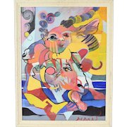 Vintage Surrealist Abstract Oil Painting Child with Ram and Gazelle Heads
