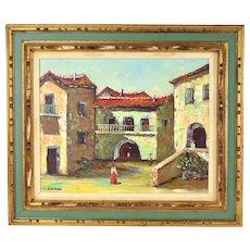 Vintage Spanish Village Street Scene Oil Painting Figures Walking in Plaza