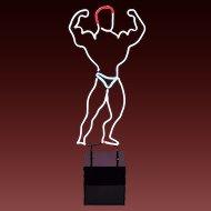 Vintage Muscle Man Body Builder Neon Light Sculpture