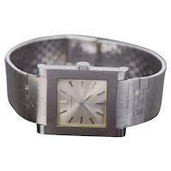 Vintage Men's Juvenia 18k White Gold Band Stainless Steel Case Wristwatch
