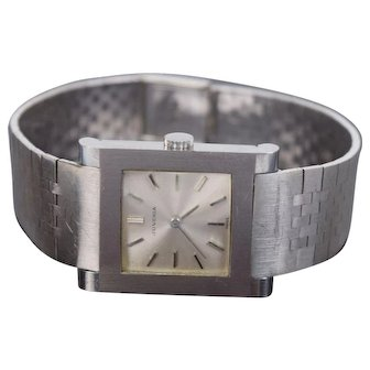 Vintage Men's Juvenia 18k White Gold Band Stainless Steel Case Wristwatch