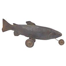 "Vintage Surrealist Cast Iron Sculpture Wheeled Fish ""Taxi Trout"" signed Maxon"