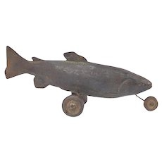 "Vintage Surrealist Cast Iron Sculpture Wheeled Fish ""Taxi Trout"" signed Maxon"